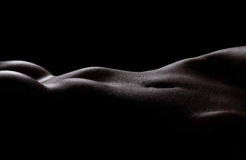 Black and white bodyscape boudoir photography